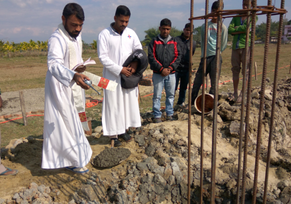 Blessing of the foundation of St. Xavier's Church